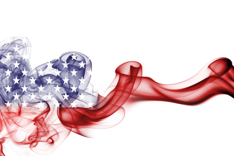 National smoke flag of United States of America isolated on white background